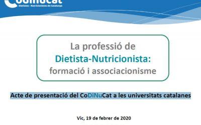 Presentació del CoDiNuCat a les Universitats Catalanes
