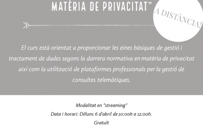 """Xerrada """"La nova regulació europea en matèria de privacitat"""""""