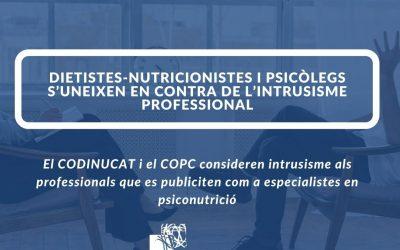 Dietistes-Nutricionistes i Psicòlegs s'uneixen en contra de l'intrusisme professional